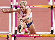 Great Britain, London - 2017 August 11: Isabelle Pedersen from Norway competes in women's 100 meters hurdles semi final during IAAF World Championships London 2017 Day 8 at London Stadium on August 11, 2017 in London, Great Britain.<br /> <br /> Mandatory credit:<br /> Photo by © Adam Nurkiewicz<br /> <br /> Adam Nurkiewicz declares that he has no rights to the image of people at the photographs of his authorship.<br /> <br /> Picture also available in RAW (NEF) or TIFF format on special request.<br /> <br /> Any editorial, commercial or promotional use requires written permission from the author of image.