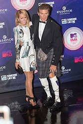 Hayley Roberts and David Hasselhoff.<br /> Red carpet at the MTV EMA, Glasgow.