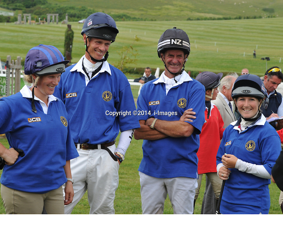 Image ©Licensed to i-Images Picture Agency. 05/07/2014. Barbury, United Kingdom. Day 3. (L-R) Zara Phillips William Fox-Pitt Sir Mark Todd and Laura Collett ( Eventers team) during JCB challenge<br />  during JCB Challenge<br /> . Picture by i-Images
