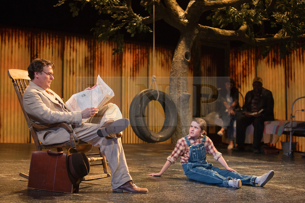 """© Licensed to London News Pictures. 25/06/2015. London, UK. Robert Sean Leonard as Atticus Finch and Ava Potter as Scout. Photocall for """"To Kill a Mockingbird"""" at the Barbican Theatre with Robert Shean Leonard as Atticus Finch and Ava Potter as Scout.  The Regent's Park Open Air Theatre production directed by Timothy Sheader will be at the Barbican from 24 June to 25 July 2015. Adapted for the stage by Christopher Sergel based on the novel by Harper Lee. Photo credit : Bettina Strenske/LNP"""