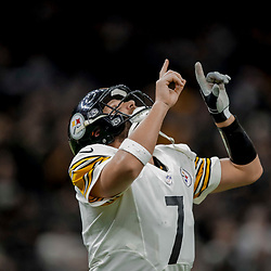 Dec 23, 2018; New Orleans, LA, USA; Pittsburgh Steelers quarterback Ben Roethlisberger (7) celebrates after a touchdown against the New Orleans Saints during the second half at the Mercedes-Benz Superdome. Mandatory Credit: Derick E. Hingle-USA TODAY Sports