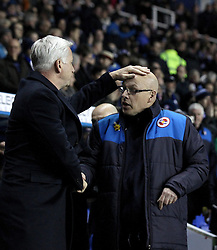 Crystal Palace Manager Alan Pardew rubs Reading Manager Brian McDermott's head - Mandatory byline: Robbie Stephenson/JMP - 11/03/2016 - FOOTBALL - Madejski Stadium - Reading, England - Reading v Crystal Palace - Emirates FA Cup Quarter Final