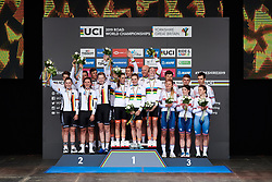 The top three: Netherlands, Germany and Great Britain at UCI Road World Championships 2019 Mixed Relay a 27.6 km team time trial in Harrogate, United Kingdom on September 22, 2019. Photo by Sean Robinson/velofocus.com