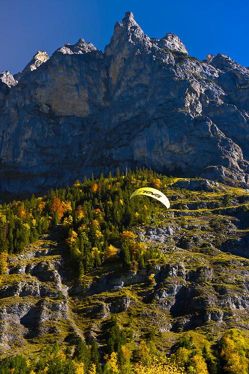 Base jumping (parachute) near Stechelberg, Lauterbrunnen Valley, Canton Bern, Switzerland