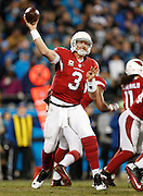 CHARLOTTE, NC - JAN 24:  Quarterback Carson Palmer #3 of the Arizona Cardinals passes during the NFC Championship game against the Carolina Panthers at Bank of America Stadium on January 24, 2016 in Charlotte, North Carolina.