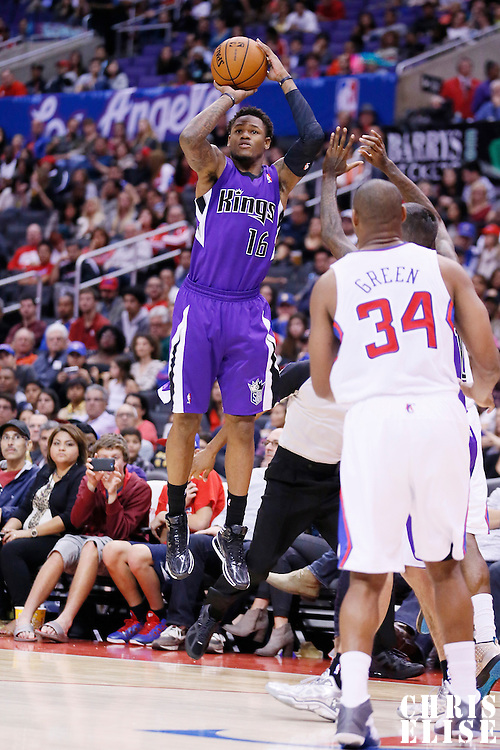 25 October 2013: Sacramento Kings shooting guard Ben McLemore (16) takes a jumpshot during the Sacramento Kings 110-100 victory over the Los Angeles Clippers at the Staples Center, Los Angeles, California, USA.