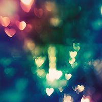Bokeh filter used to make heart shape patterns out of Christmas lights.