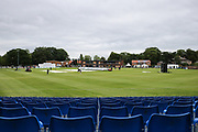 A view of York Cricket Club from the temporary 2,000-seater stand ahead of the Specsavers County Champ Div 1 match between Yorkshire County Cricket Club and Warwickshire County Cricket Club at York Cricket Club, York, United Kingdom on 17 June 2019.