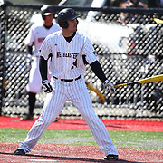 Nick Berger #14 of the Northeastern Huskies steps up to hit during the game at Friedman Diamond on March 16, 2014 in Brookline, Massachusetts. (Photo by Elan Kawesch)