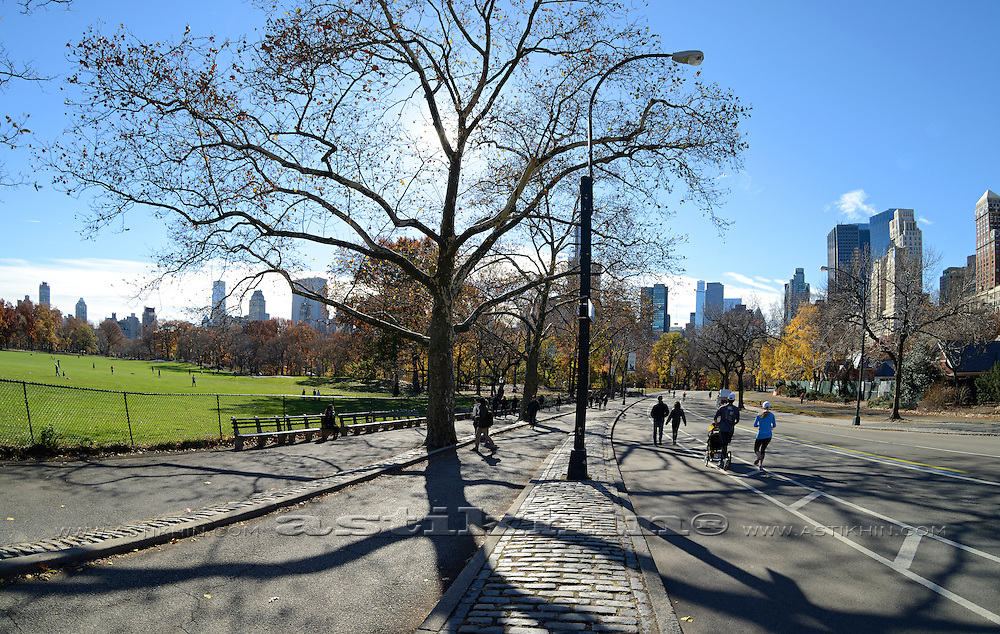 Central Park, Manhattan, New York, NYC, People exercising on the recreation path.