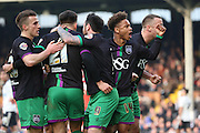 Bristol City midfielder, Marlon Pack (21) scoring goal and celebrating with team mates 1-1 during the Sky Bet Championship match between Fulham and Bristol City at Craven Cottage, London, England on 12 March 2016. Photo by Matthew Redman.