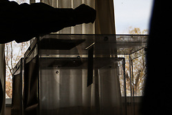 May 26, 2019 - Patras, Achaia, Greece - Silhouette of a hand casting a vote at a polling station during the first round of Greek municipal and regional elections, coinciding with European Parliament elections in Patras..Greece votes today for the first round of Greek municipal and regional elections, coinciding with European Parliament elections. (Credit Image: © Menelaos Michalatos/SOPA Images via ZUMA Wire)