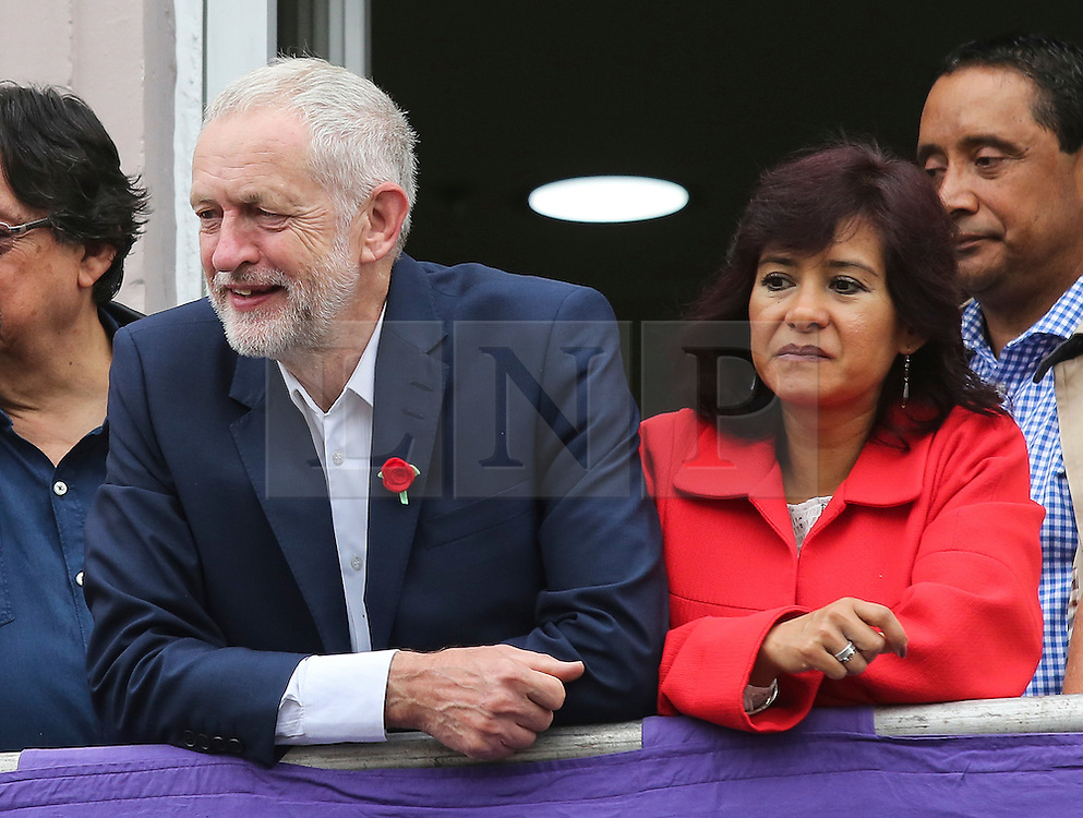 © Licensed to London News Pictures. 09/07/2016. Durham, UK. Labour leader JEREMY CORBYN and his wife LAURA ALVAREZ at the Durham Miners' Gala in County Durham, UK. The gala is a large gathering held annually associated with the coal mining heritage and trade unionism. Photo credit : Ian Hinchliffe/LNP