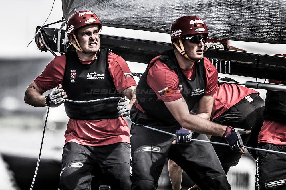 2015 Extreme Sailing Series - Act 5 - Hamburg.<br /> Team Extreme Germany skippered by Paul Kohlhoff (GER) and crewed by Johann Kohlhoff (GER), Peter Kohlhoff (GER), Max Kohlhoff (GER) and Philip Kasueske (DEN)<br /> Credit Jesus Renado.