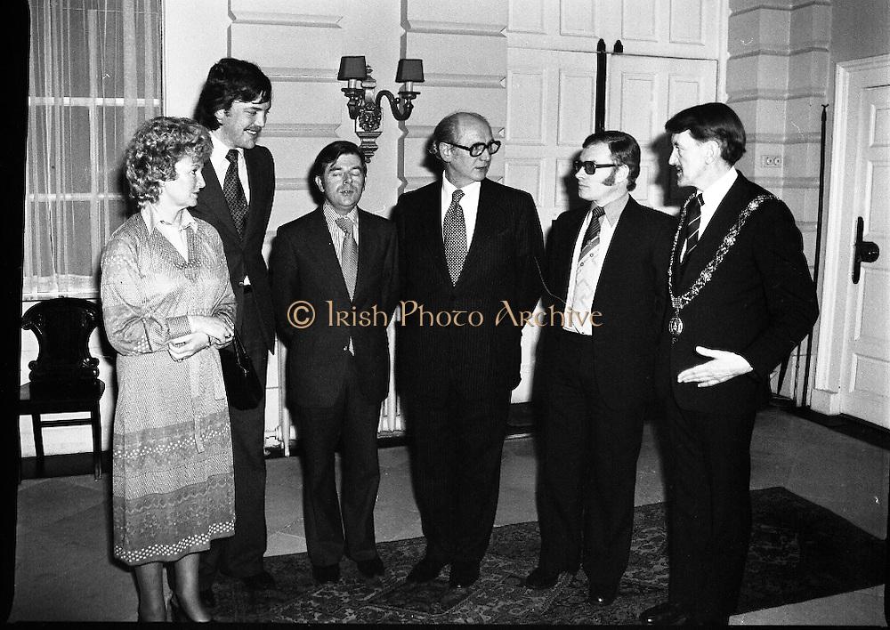 Cork School Of Music..Centennial Concert At Trinity College, Dublin. (M64)..1979..01.04.1979..04.01.1979..1st April 1979..An Taoiseach,Mr Jack Lynch TD,was guest of honour at Cork School of Music,Centennial Concert presented by The Music Association of Ireland. The concert was sponsored by Raybestos Manhattan, McCullogh-Piggot Ltd and Trinity College Dublin.The event took place in the examination hall in the college..Pictured at the concert reception were (L-R), Mrs Mary McCullough,Mr Aidan Mc Cullough, Mr Pat O'Kelly,President,Music Association of Ireland,An Taoiseach, Mr Jack Lynch TD, Mr Pat Hackett, Managing Director,Raybestos Manhattan and Councillor Brian Sloane, Lord Mayor of Cork.