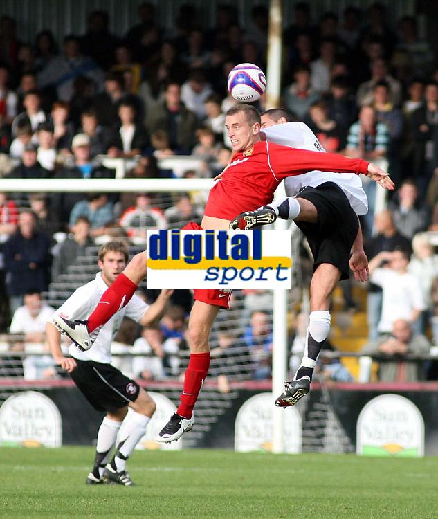 Photo: Mark Stephenson.<br /> Hereford United v Milton Keynes Dons. Coca Cola League 2. 20/10/2007.M K Don's Aaron Wilbraham wins the ball