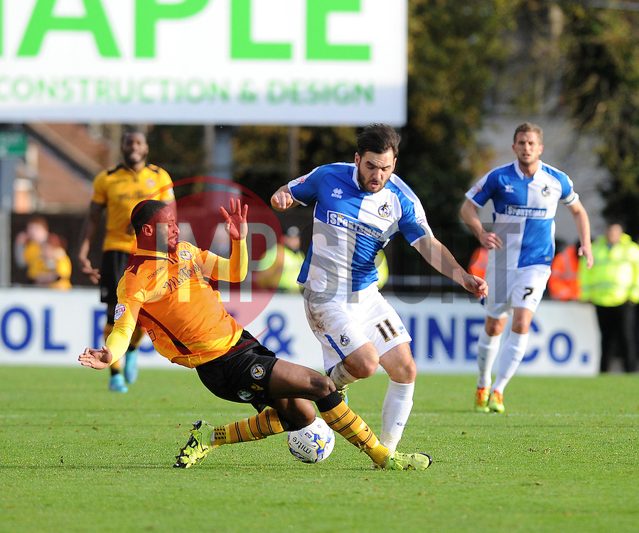 Jake Gosling of Bristol Rovers is brought down by Janoi Donacien of Newport County - Mandatory byline: Neil Brookman/JMP - 07966 386802 - 24/10/2015 - FOOTBALL - Memorial Stadium - Bristol, England - Bristol Rovers v Newport County AFC - Sky Bet League Two