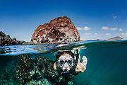 Model With Tuff Cone While Snorkeling<br /> KT 013 Florencia Ceide<br /> Sullivan Bay <br /> Santiago <br /> Galapagos<br /> Ecuador, South America