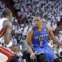 21 June 2012: Oklahoma City Thunder point guard Russell Westbrook (0) looks to pass the ball during the second quarter of Game 5 of the 2012 NBA Finals, at the AmericanAirlinesArena, Miami, Florida, USA.