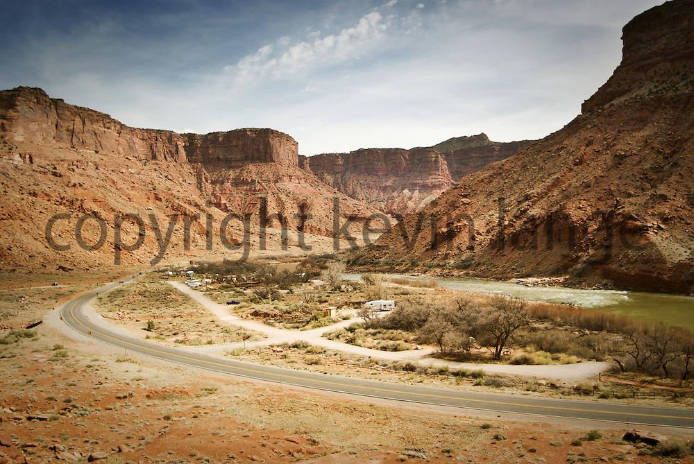 highway 128 and the colorado river.  moab, utah, usa.