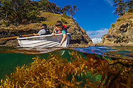 Two boys exploring the marine coastline in a sheltered bay.  Nikon D2x, exposure 1/160th at f8, using a 12 to 24mm lens set at 12mm. Bowling Alley Bay, Great Barrier Island.