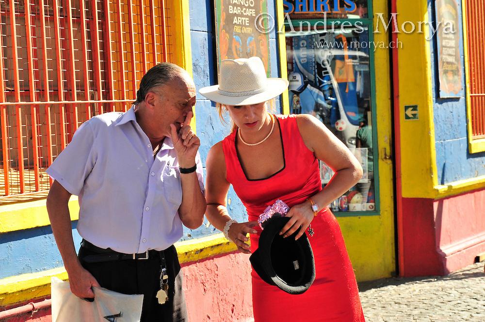 Tango dancers at Caminito , La Boca , Buenos Aires , Argentin Image by Andres Morya