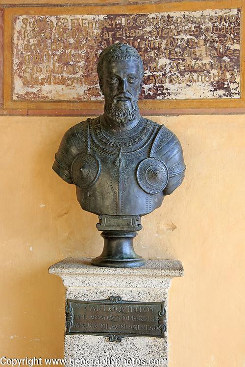 Memorial sculpture bust Holy Roman Emperor Carlos V, Monastery of Cuacos de Yuste, La Vera, Extremadura, Spain