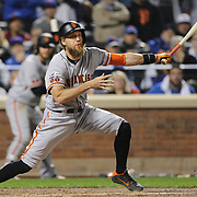 NEW YORK, NEW YORK - October 5: Hunter Pence #8 of the San Francisco Giants batting during the San Francisco Giants Vs New York Mets National League Wild Card game at Citi Field on October 5, 2016 in New York City. (Photo by Tim Clayton/Corbis via Getty Images)