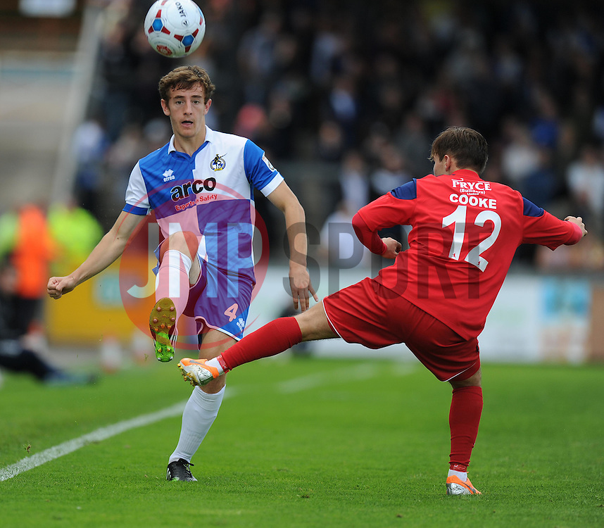 Bristol Rover's Tom Lockyer plays the ball past AFC Telford's Sean Cooke - Photo mandatory by-line: Alex James/JMP - Mobile: 07966 386802 23/08/2014 - SPORT - FOOTBALL - Bristol - Memorial Stadium - Bristol Rovers v AFC Telford - Vanarama Football Conference