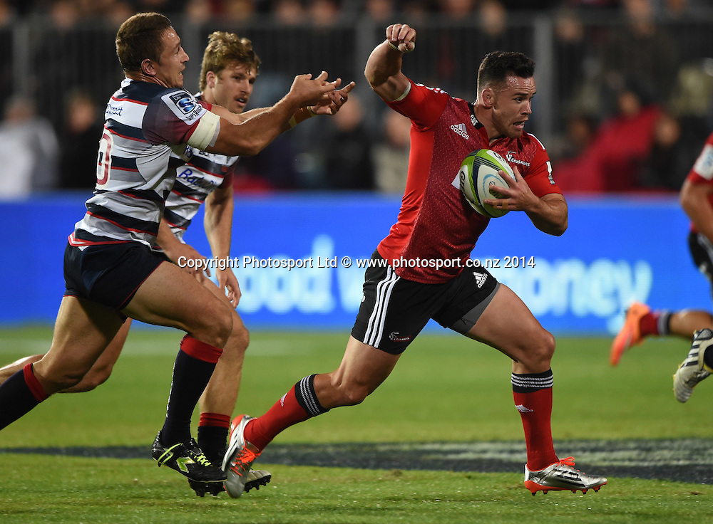 Ryan Crotty. Crusaders v Rebels. Super Rugby. Christchurch, New Zealand. Friday 13 February 2015. Copyright Photo: Andrew Cornaga / www.photosport.co.nz