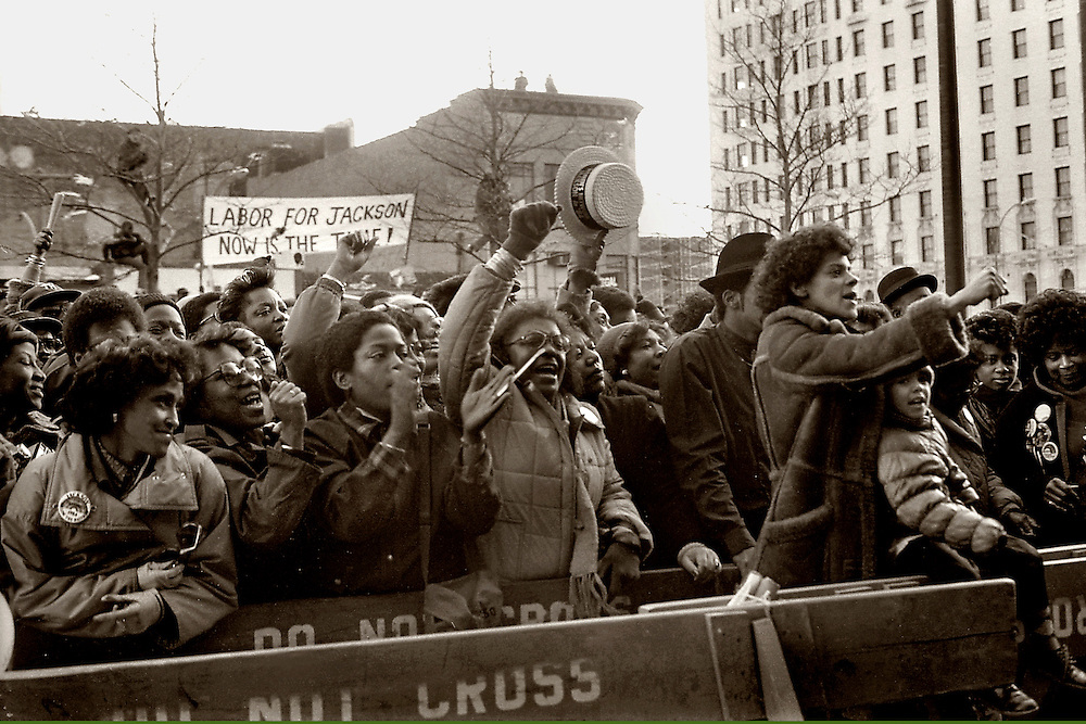 "From the ""Jesse Jackson Harlem Rally"" in 1984. Jesse was running for president. Here the crowd roars as Jesse finally arrives."