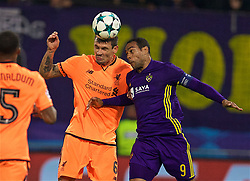 MARIBOR, SLOVENIA - Tuesday, October 17, 2017: Liverpool's Dejan Lovren and NK Maribor's Marcos Tavares during the UEFA Champions League Group E match between NK Maribor and Liverpool at the Stadion Ljudski vrt. (Pic by David Rawcliffe/Propaganda)