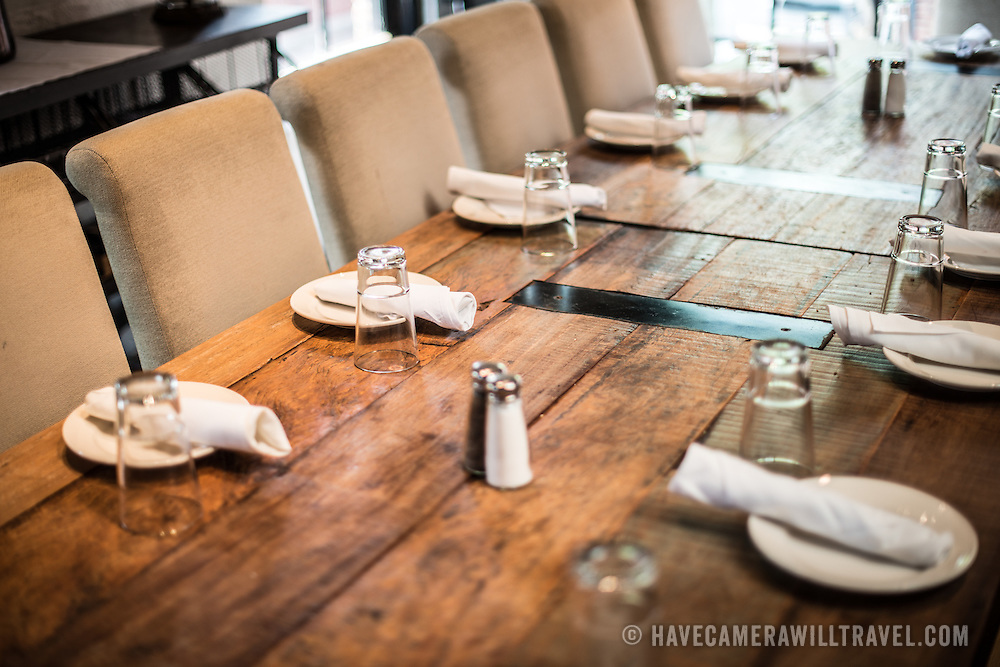 Rustic restaurant interior design table have camera will