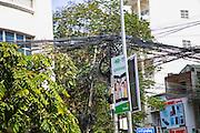 Communication wire jumble, Phnom Penh, Cambodia