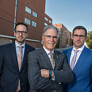 Martin Cote, left, Peter Whatmore and Mitchell Blaine of CBRE worked for three years to sell the Schneider's Plant on Courtland Avenue. <br /> <br /> IAN STEWART / SPECIAL TO THE RECORD