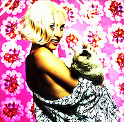 Los Angeles, California:Sexy hip woman in kimono with Siamese cat (Photo: Ann Summa).
