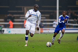 PETERBOROUGH, ENGLAND - Saturday, February 19, 2011: Tranmere Rovers' Enoch Showunmi takes on the Peterborough United defence during the Football League One match at London Road. (Photo by Gareth Davies/Propaganda)