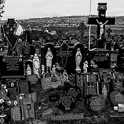 "Derry City Cemetery where a number of the most prominent figures during the time of the ""Troubles"" are buried. Northern Ireland, September 2019"
