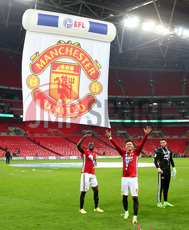 Marcos Rojo, Eric Bailly and Sergio Romero of Manchester United celebrate winning the EFL Trophy - Mandatory by-line: Matt McNulty/JMP - 26/02/2017 - FOOTBALL - Wembley Stadium - London, England - Manchester United v Southampton - EFL Cup Final