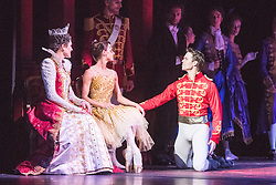 © Licensed to London News Pictures. 08/07/2015. London, UK. Inspired by the Brothers Grimm fairy tale, Christopher Wheeldon has created a dream-like ballet, set to Prokofiev's magnificent score – performed live by the Royal Ballet Sinfonia – and full of lavish sets and costumes by Julian Crouch, and stunning stage effects. Picture features Matthew Golding as Louise Vine as The Queen, Matthew Golding as Prince Guillaume and Anna Tsygankova as Cinderella. Photo credit : Tony Nandi/LNP