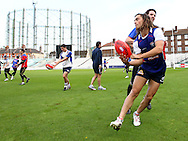 Picture by Paul Terry/SLIK images +44 7545 642257. 1st November 2012. .Luke Dahlhaus of Western Bulldogs during training session ahead of Saturday's Elastoplast AFL European Challenge at Kia Oval in London, UK