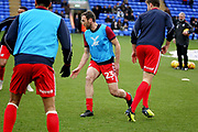 Scunthorpe Utd defender Rory McArdle (23) warming up before the EFL Sky Bet League 1 match between Peterborough United and Scunthorpe United at London Road, Peterborough, England on 1 January 2019.