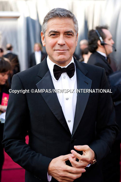 George Clooney..84TH OSCARS.The 84th Academy Awards held at Kodak Theatre, Hollywood & Highland Center®, Los Angeles, February 26, 2012,.MANDATORY PHOTO CREDIT: ©Ampas/NEWSPIX INTERNATIONAL..(Failure to by-line the photograph will result in an additional 100% reproduction fee surcharge. You must agree not to alter the images or change their original content)..            *** ALL FEES PAYABLE TO: NEWSPIX INTERNATIONAL ***..IMMEDIATE CONFIRMATION OF USAGE REQUIRED:Tel:+441279 324672..Newspix International, 31 Chinnery Hill, Bishop's Stortford, ENGLAND CM23 3PS.Tel: +441279 324672.Fax: +441279 656877.Mobile: +447775681153.e-mail: info@newspixinternational.co.uk