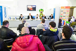 Press conference of Basketball Federation of Slovenia - KZS when signing a contract with Tourist agency Kompas for selling Eurobasket 2015 tickets, on March 2, 2015 in Ljubljana, Slovenia. Photo by Vid Ponikvar / Sportida