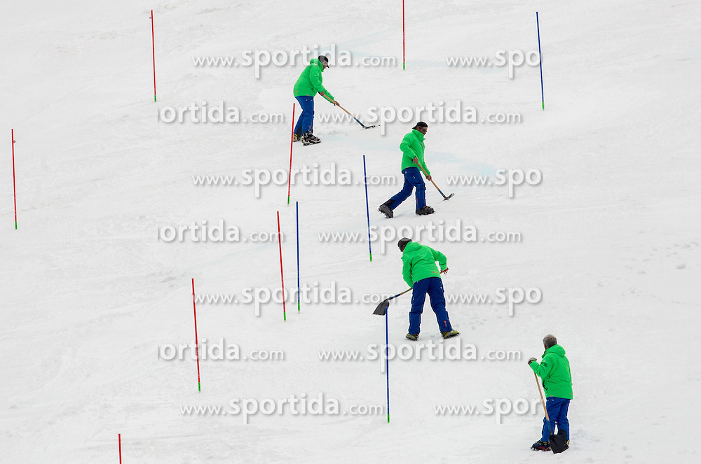 Workers at course during 2nd Run of Men Slalom race of FIS Alpine Ski World Cup 54th Vitranc Cup 2015, on March 15, 2015 in Kranjska Gora, Slovenia. Photo by Vid Ponikvar / Sportida
