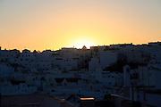 Sun going down buildings in shadow in village of Vejer de la Frontera, Cadiz Province, Spain