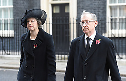 Prime Minister Theresa May and husband Philip leave number 10 Downing Street on their way to the annual Remembrance Sunday Service at the Cenotaph memorial in Whitehall, central London, held in tribute for members of the armed forces who have died in major conflicts.