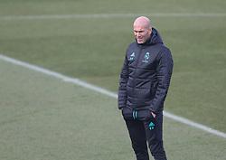 December 7, 2017 - Madrid, Spain - Head coach Zinedine Zidane of Real Madrid in action during a training session at Valdebebas training ground on December 8, 2017 in Madrid, Spain. (Credit Image: © Raddad Jebarah/NurPhoto via ZUMA Press)