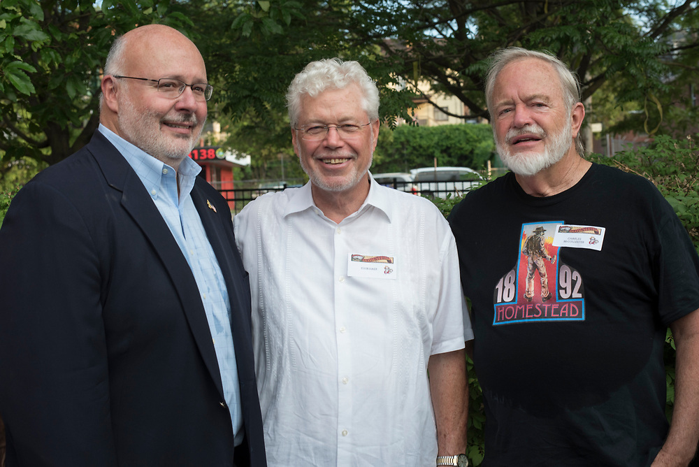 (left to right) Augie Carlino, John Haer, and Charlie McCollester at the Meet & Greet and Commemorate with Mark Rylance for the Battle of Homestead Foundation.