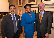 Houston ISD Superintendent Richard Carranza, Jasmine Jenkins and Douglas Foshee pose for a photograph during a State of the Schools VIP reception at the home of Douglas and SarahFoshee, January 17, 2017.
